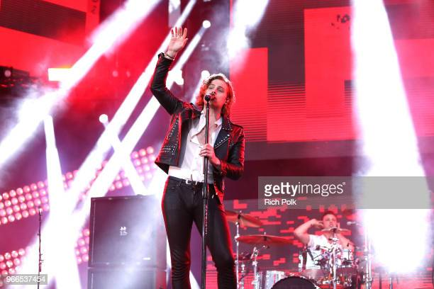 Luke Hemmings of music group 5 Seconds of Summer performs onstage during the 2018 iHeartRadio Wango Tango by ATT at Banc of California Stadium on...