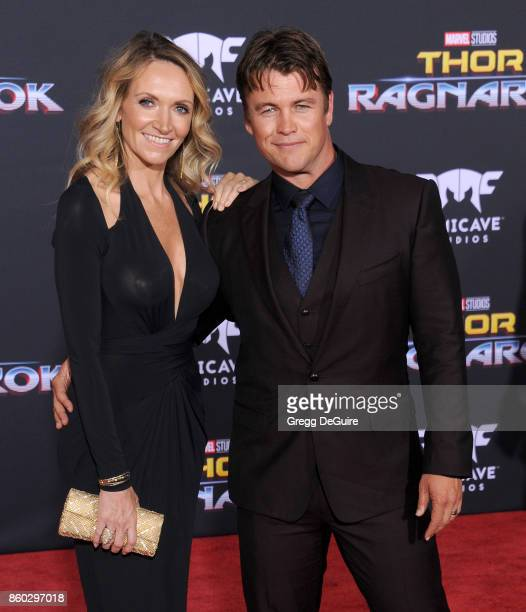 """Luke Hemsworth and Samantha Hemsworth arrive at the premiere of Disney and Marvel's """"Thor: Ragnarok"""" at the El Capitan Theatre on October 10, 2017 in..."""