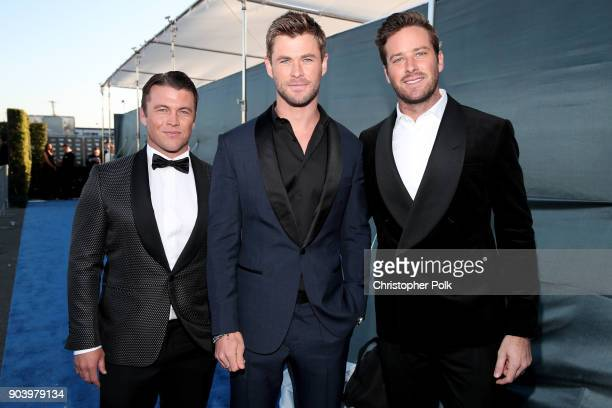 Luke Hemsworth Chris Hemsworth and Armie Hammer attend The 23rd Annual Critics' Choice Awards at Barker Hangar on January 11 2018 in Santa Monica...