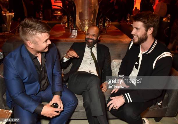Luke Hemsworth Jeffrey Wright and Liam Hemsworth attend the Los Angeles Season 2 premiere of the HBO Drama Series WESTWORLD at The Cinerama Dome on...