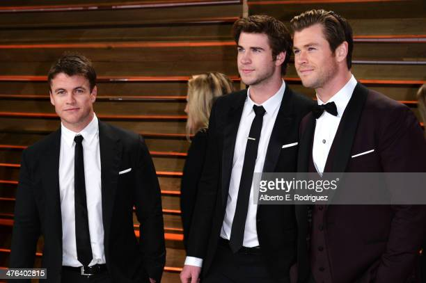 Luke Hemsworth, Liam Hemsworth and Chris Hemsworth attend the 2014 Vanity Fair Oscar Party hosted by Graydon Carter on March 2, 2014 in West...