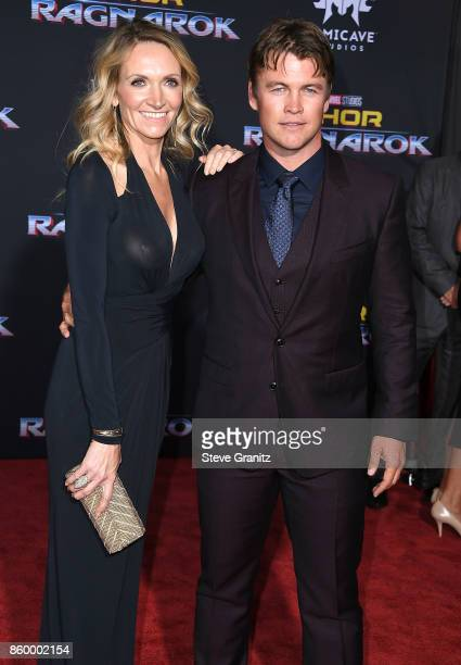 "Luke Hemsworth, Samantha Hemsworth arrives at the Premiere Of Disney And Marvel's ""Thor: Ragnarok"" on October 10, 2017 in Los Angeles, California."