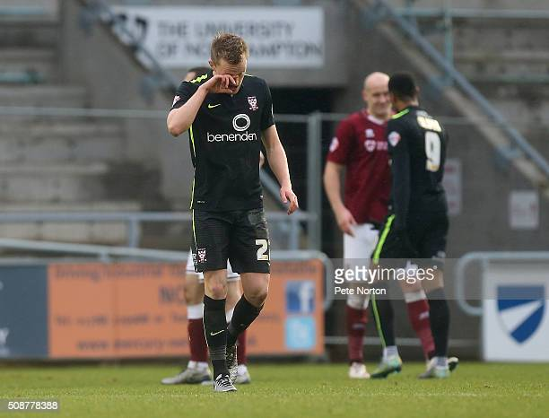 Luke Hendrie of York City walks dejectedly from the pitch after being shown a red card during the Sky Bet League Two match between Northampton Town...