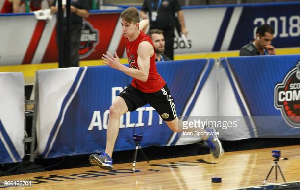 Luke Henman completes the pro agility test during the NHL Scouting Combine on June 2 2018 at HarborCenter in Buffalo New York