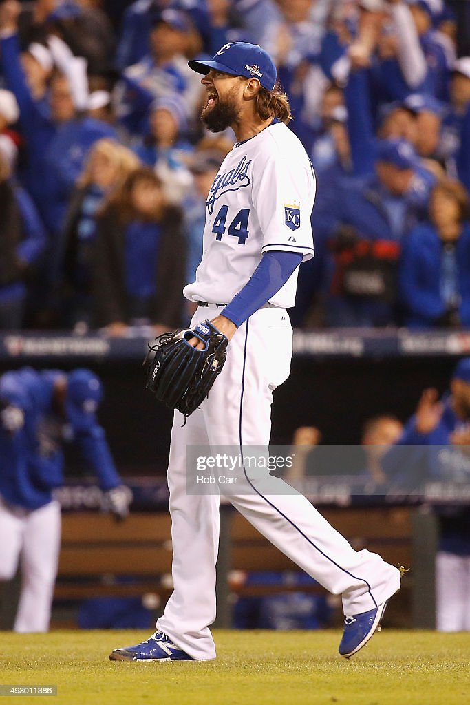 Luke Hochevar #44 of the Kansas City Royals celebrates defeating the Toronto Blue Jays 5-0 in game one of the American League Championship Series at Kauffman Stadium on October 16, 2015 in Kansas City, Missouri.