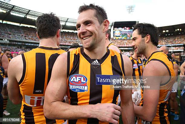 Luke Hodge of the Hawks celebrates after the 2015 Toyota AFL Grand Final match between the Hawthorn Hawks and the West Coast Eagles at the Melbourne...