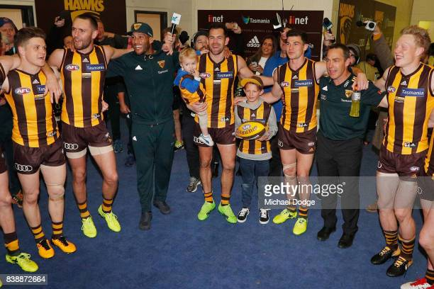 Luke Hodge of the Hawks celebrates the win with Josh Gibson after his retirement match during round 23 AFL match between the Hawthorn Hawks and the...