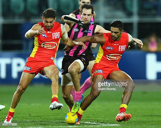 Luke Hodge of the Hawks competes for the ball against Jarrod Harbrow and Aaron Hall of the Suns during the round 14 AFL match between the Hawthorn...