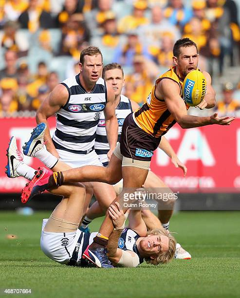 Luke Hodge of the Hawks handballs whilst being tackled Cameron Guthrie of the Cats during the round one AFL match between the Hawthorn Hawks and the...