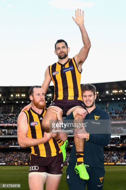 Luke Hodge of the Hawks is carried off in his 300th game during the round 17 AFL match between the Geelong Cats and the Hawthorn Hawks at Melbourne...