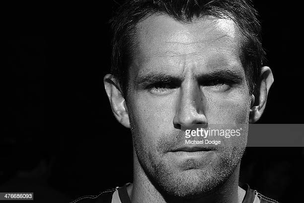 Image has been converted to black and white Luke Hodge of the Hawks poses during the 2014 AFL Season Launch at Adelaide Oval on March 5 2014 in...