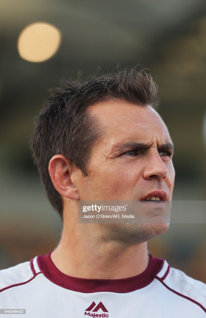 Luke Hodge of the Lions during the round two AFL match between the Brisbane Lions and the Melbourne Demons at The Gabba on March 31, 2018 in Brisbane, Australia.