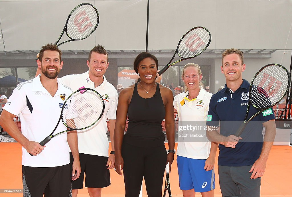 Luke Hodge, Peter Siddle, Meg Lanning and Joel Selwood pose with Serena Williams during a Gatorade activation at Ashwood Woolworths on January 11, 2016 in Melbourne, Australia. Serena Williams, the number one female tennis player in the world and global Gatorade ambassador, took time out while visiting Australia to serve up a special master class for six rising stars of the country's youth tennis system at Woolworths Ashwood, Melbourne. With the help of Gatorade, the world's leading sports hydration drink, the record breaking champion provided a rare insight into what it takes to become the best in the business, helping fuel the future of tennis in Australia. Gatorade also brought down its ambassadors from the AFL and Cricket Australia to take part in the fun. Hawthorn Football club captain and four time premiership winner Luke Hodge, Geelong captain Joel Selwood, Cricket Australia's specialist right-arm bowler, Peter Siddle and Women's Team captain Meg Lanning had a go at producing a 200 km/h serve that the recently crowned Sportsperson of the Year (Sports Illustrated) is famous for.