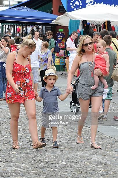 Luke Hudson Gavigan Jessica Capshaw and her children Eve Augusta Gavigan on July 2 2011 in Portofino Italy
