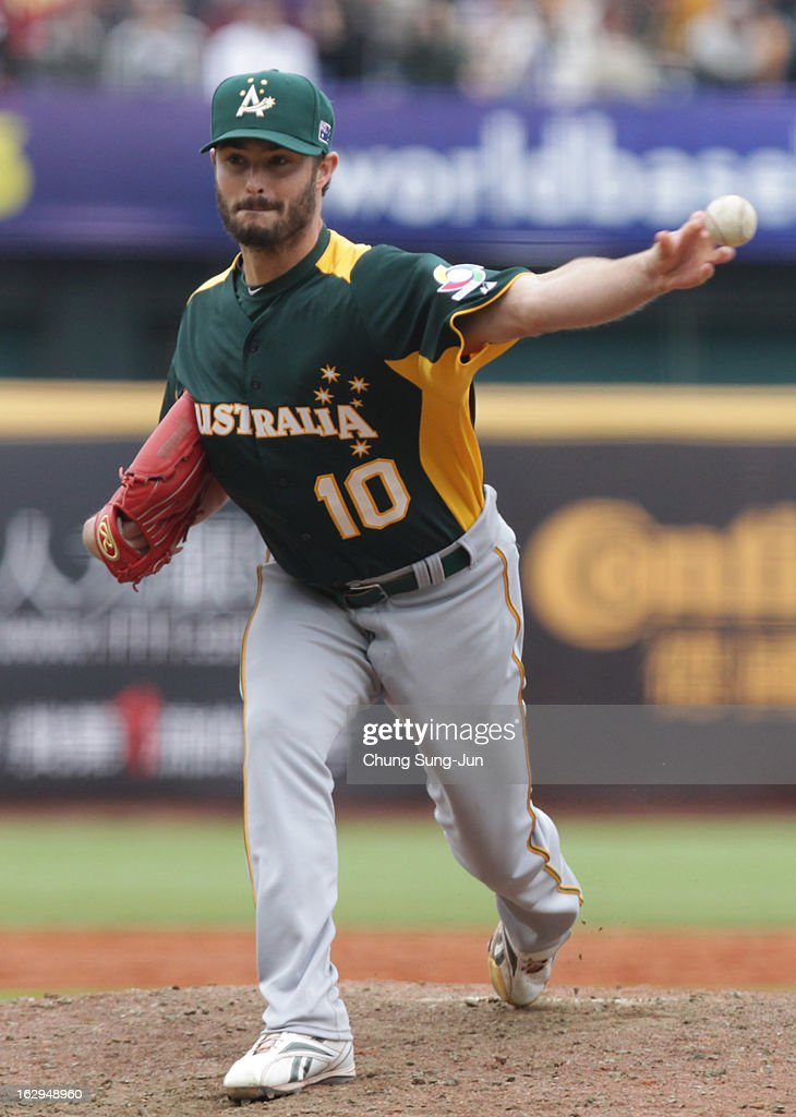 Luke Hughes of Australia pitchs in the sisth inning during the World Baseball Classic First Round Group B match between Australia and Chinese Taipei at Intercontinental Baseball Stadium on March 2, 2013 in Taichung, Taiwan.
