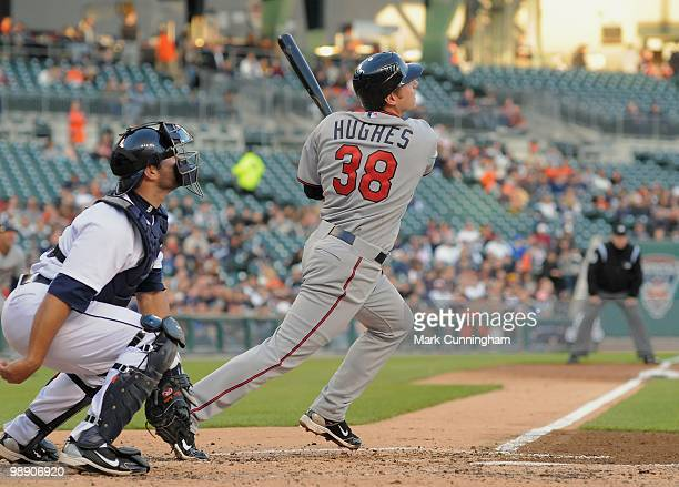 Luke Hughes of the Minnesota Twins hits a home run in his first major league atbat during his major league debut game against the Detroit Tigers at...