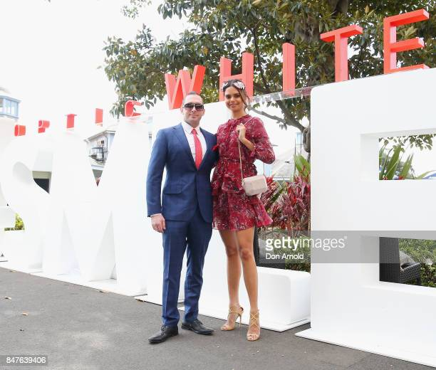 Luke Hunt and Samantha Harris attend Colgate Optic White Stakes Day at Royal Randwick Racecourse on September 16 2017 in Sydney Australia