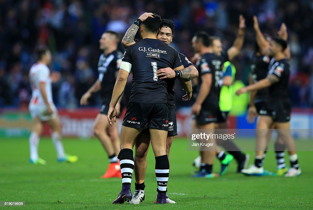 Luke Isaac and Jordan Kahu of New Zealand celebrate victory during the Four Nations match between England and New Zealand Kiwis at John Smith's Stadium on October 29, 2016 in Huddersfield, United Kingdom.