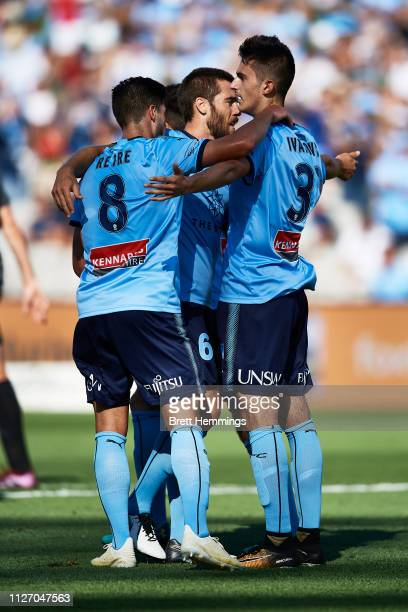 Luke Ivanovic of Sydney celebrates scoring a goal with team mates during the round 17 ALeague match between Sydney FC and Melbourne City at WIN...