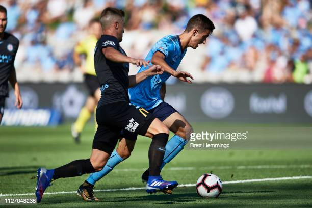 Luke Ivanovic of Sydney shoots for goal during the round 17 ALeague match between Sydney FC and Melbourne City at WIN Jubilee Stadium on February 03...
