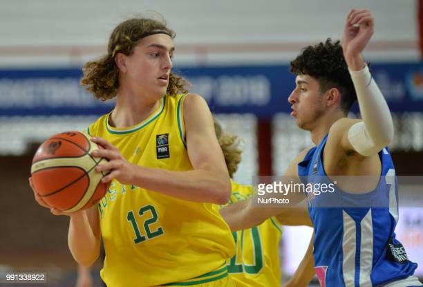 Luke Jackson of Australia during Fiba U17 world cup game match between Australia and Puerto Rico at the Atletico Union stadium in Santa Fe Argentina...