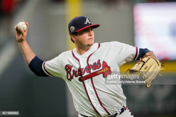 Luke Jackson of the Atlanta Braves pitches against the Philadelphia Phillies at SunTrust Park on June 5 2017 in Atlanta Georgia The Phillies won 114