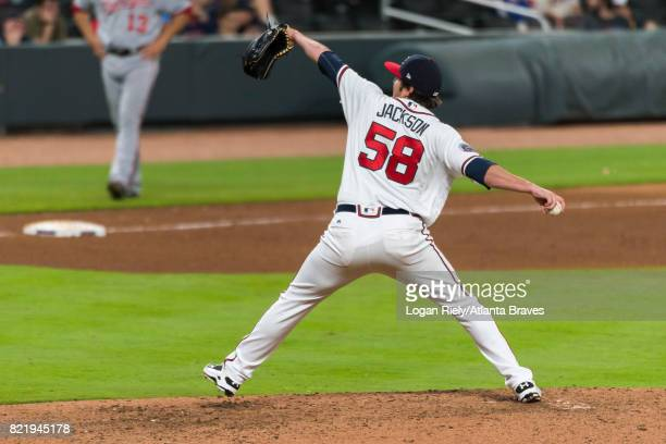 Luke Jackson of the Atlanta Braves pitches against the Washington Nationals at SunTrust Park on April 19 2017 in Atlanta Georgia The Braves lost 144