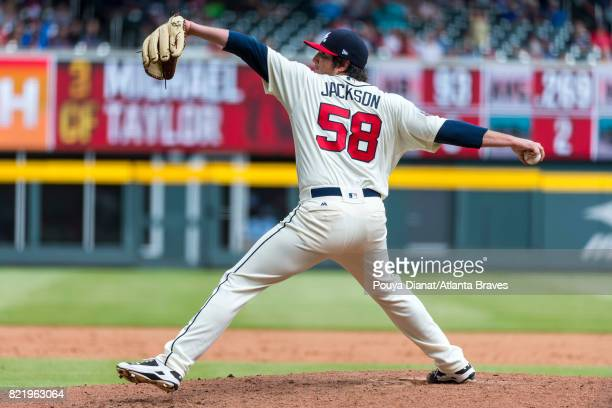Luke Jackson of the Atlanta Braves pitches against the Washington Nationals at SunTrust Park on May 21 2017 in Atlanta Georgia The Nationals won 32