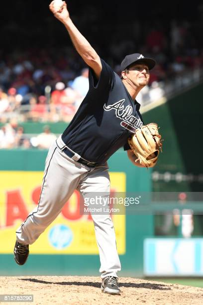 Luke Jackson of the Atlanta Braves pitches during a baseball game against the Washington Nationals at Nationals Park on July 9 2017 in Washington DC...