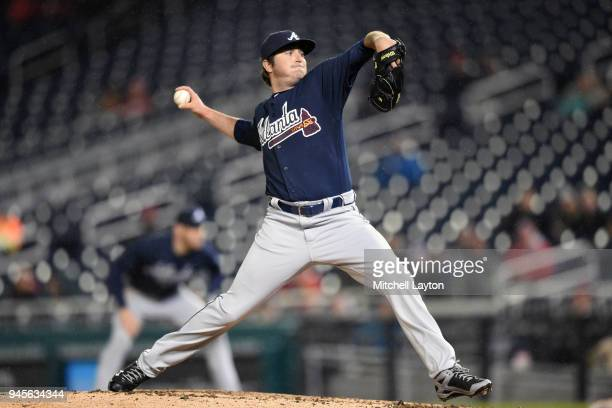 Luke Jackson of the Atlanta Braves pitches during a baseball game against the Washington Nationals at Nationals Park on April 9 2018 in Washington DC...
