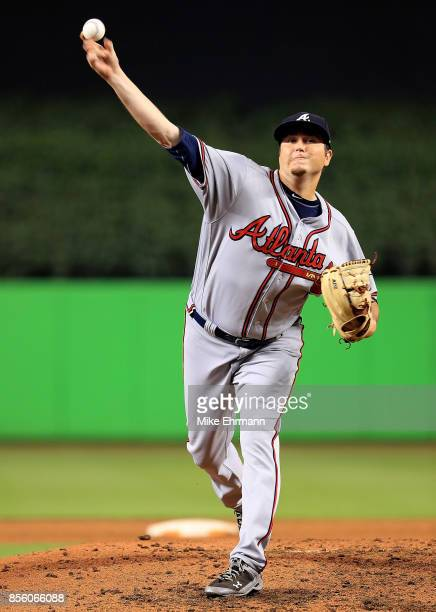 Luke Jackson of the Atlanta Braves pitches during a game against the Miami Marlins at Marlins Park on September 30 2017 in Miami Florida
