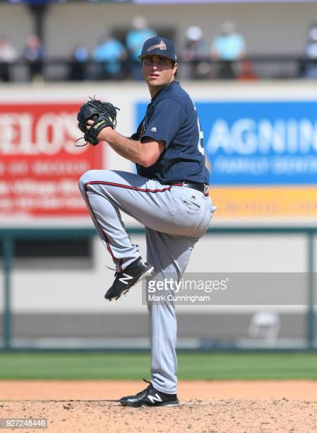 Luke Jackson of the Atlanta Braves pitches during the Spring Training game against the Detroit Tigers at Publix Field at Joker Marchant Stadium on...