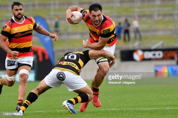 Luke Jacobson of Waikato charges forward during the round 7 Mitre 10 Cup match between Waikato and Taranaki at FMG Stadium on October 25 2020 in...