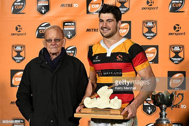 Luke Jacobson of Waikato wins the DJ Graham Player of the Tournament award following the Jock Hobbs Memorial Under 19 Rugby tournament on September...