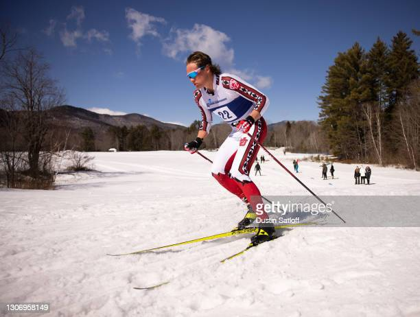 Luke Jager of the University of Utah during the men's 20km freestyle at the NCAA Skiing Championships on March 13, 2021 in Jackson, New Hampshire.