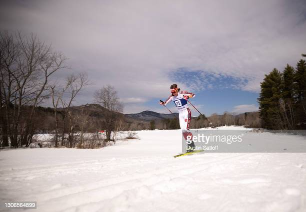 """Luke Jager of the University of Utah during the men""""u2019s 10km classic at the NCAA Skiing Championship on March 11, 2021 in Jackson, New Hampshire."""