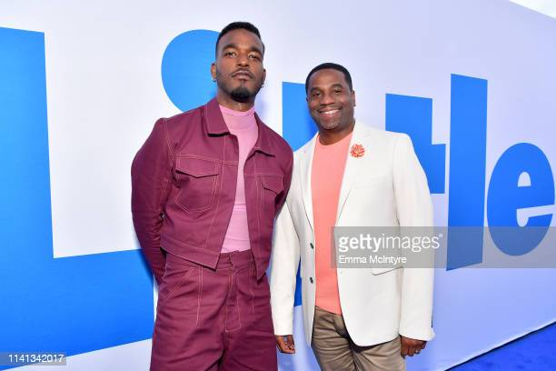 """Luke James and James Lopez attend the premiere of Universal Pictures """"Little"""" at Regency Village Theatre on April 08, 2019 in Westwood, California."""