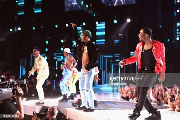 Luke James and Woody Mclain perform onstage at 2017 BET Awards at Microsoft Theater on June 25 2017 in Los Angeles California