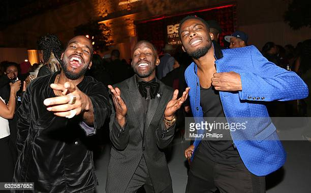 Luke James Elijah Kelley and Woody McClain attend the after party for BET's 'The New Edition Story' on January 23 2017 in Los Angeles California