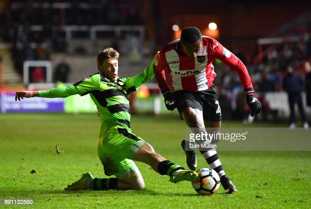 Luke James of Forest Green Rovers and Kyle Edwards of Exeter City during the Emirates FA Cup Second Round Replay between Exeter City and Forest Green...