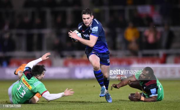 Luke James of Sale Sharks breaks through the defense to score their third try of the game during the Gallagher Premiership Rugby match between Sale...