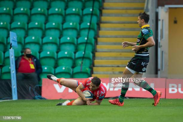 Luke James of Sale Sharks scores his sides third Try during the Gallagher Premiership match between Northampton Saints and Sale Sharks at Franklin's...
