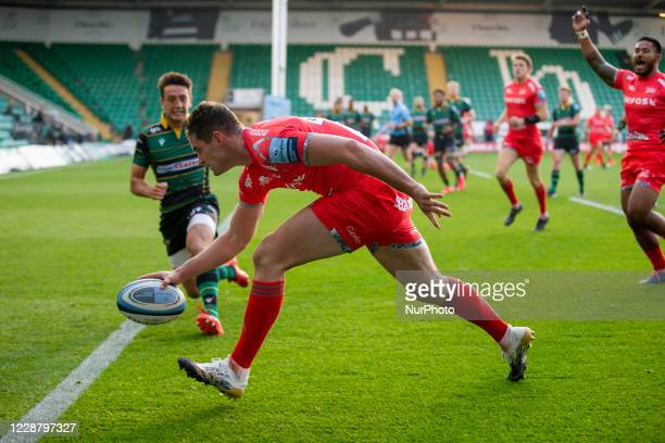 Luke James of Sale Sharks scores Try for his side during the Gallagher Premiership match between Northampton Saints and Sale Sharks at Franklin's...