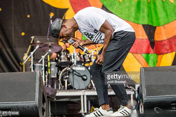 Luke James performs at the New Orleans Jazz Heritage Festival at the Fair Grounds Race Course on April 25 2015 in New Orleans Louisiana