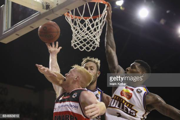 Luke Jamieson of the Hawks is fouled as he lays up a shot during the round 19 NBL match between the Illawarra Hawks and the Brisbane Bullets at...
