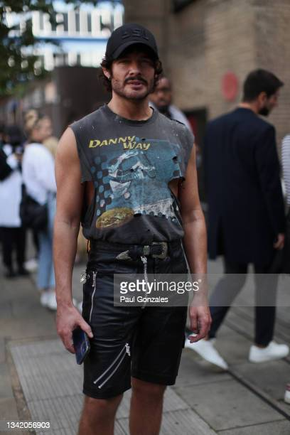 Luke Jefferson Day is seen COS during London Fashion Week September 2021 on September 21, 2021 in London, England.