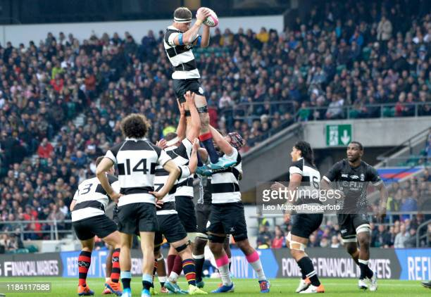 Luke Jones of the Barbarians wins a line out during the match which was won by Fiji 3331 during the Killik Cup match between Barbarians and Fiji at...