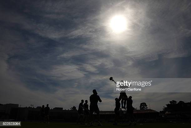 Luke Jones of the Rebels claims a lineout during a Melbourne Rebels Super Rugby training session at Ikon Park on April 20 2016 in Melbourne Australia