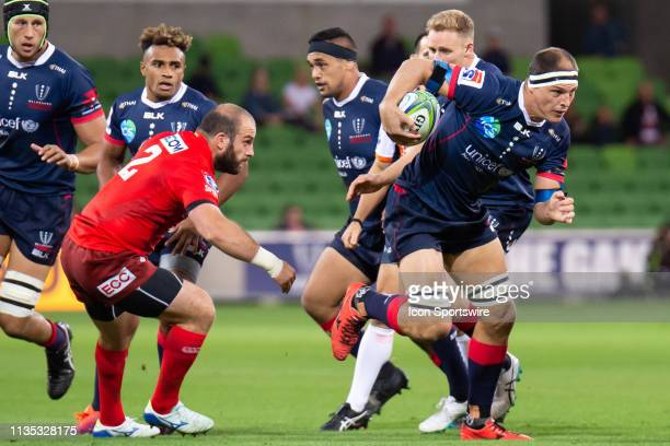 Luke Jones of the Rebels makes an attempt to run the ball at round 8 of The Super Rugby match between Melbourne Rebels and Sunwolves on April 06,...