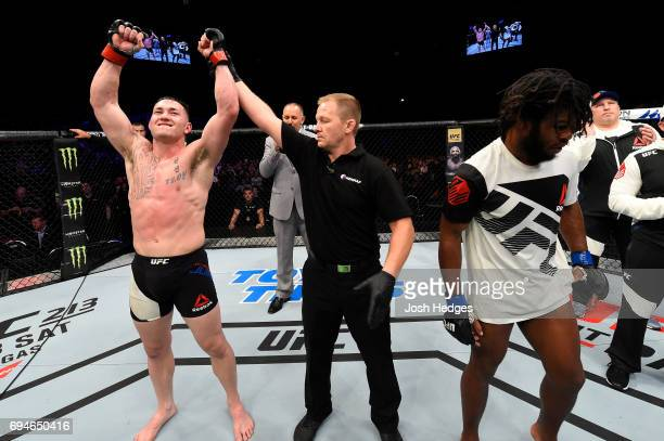 Luke Jumeau of Australia celebrates after defeating Dominique Steele in their welterweight fight during the UFC Fight Night event at the Spark Arena...